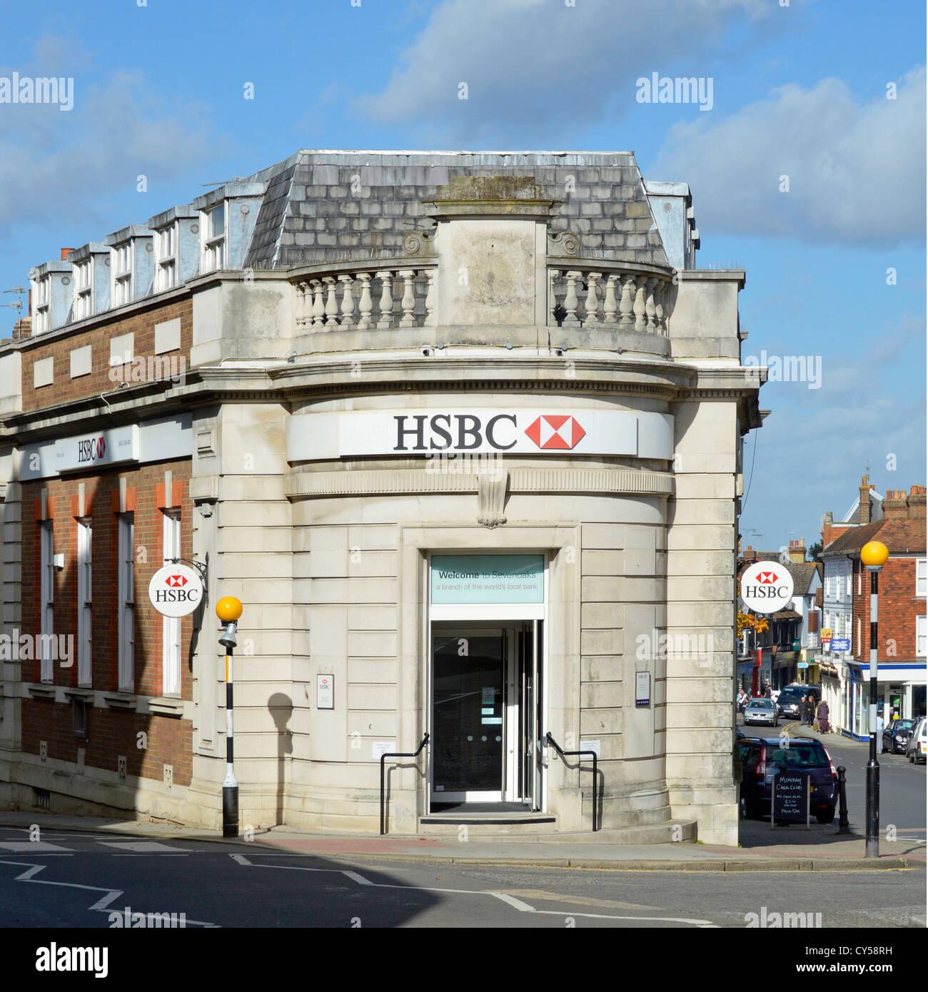 HSBC high street bank branch premises on corner site - Stock Image