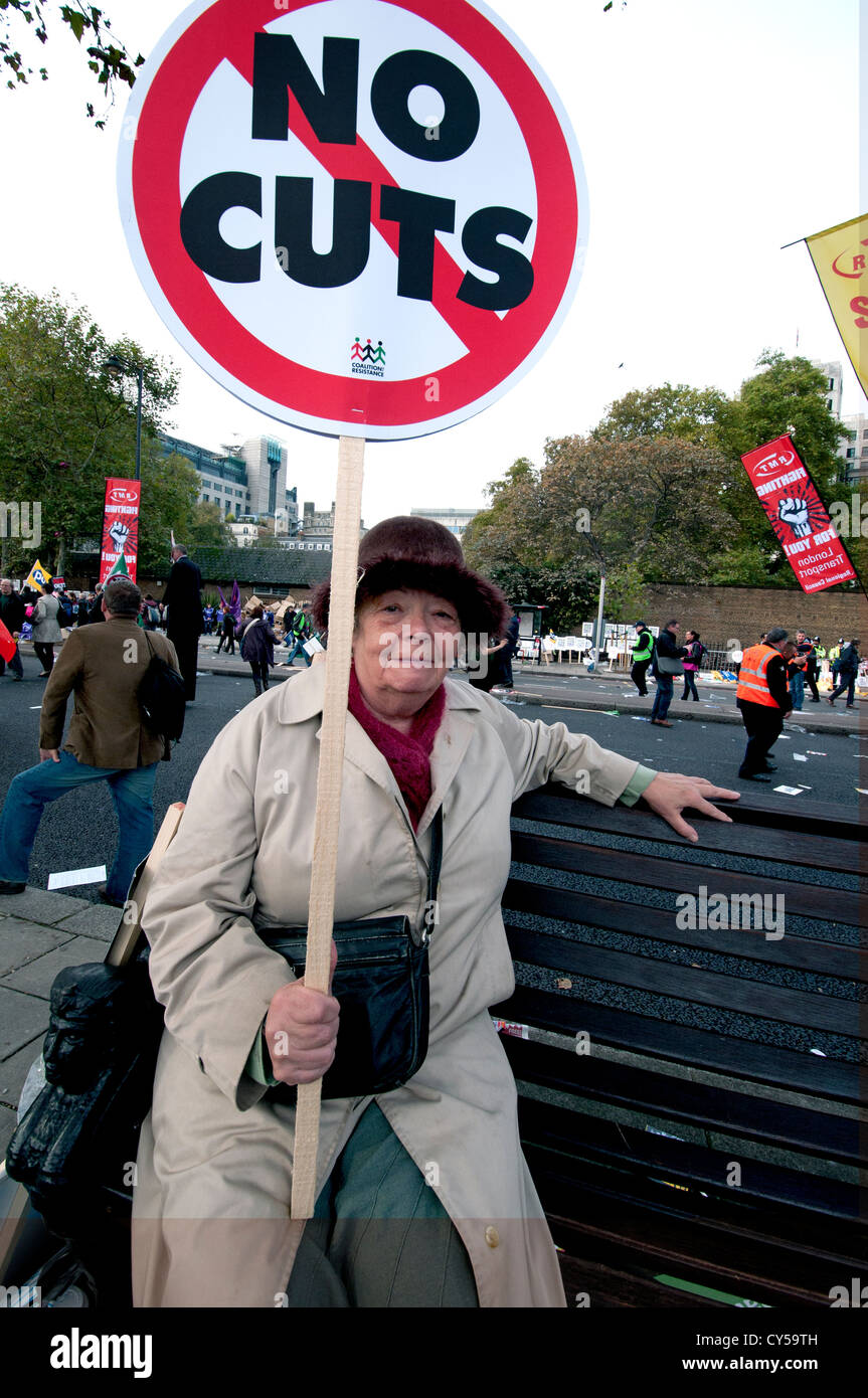 Anti-austerity and anti cuts  protest organized by the TUC  marched through Central London Oct 2012 - Stock Image