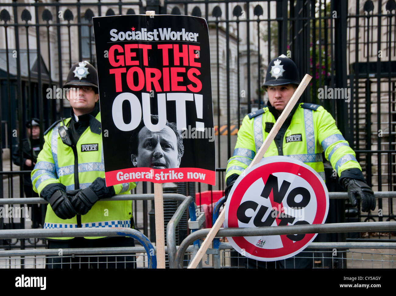 Anti-austerity and anti cuts  protest organized by the TUC  marched through through Central London Oct 2012 - Stock Image