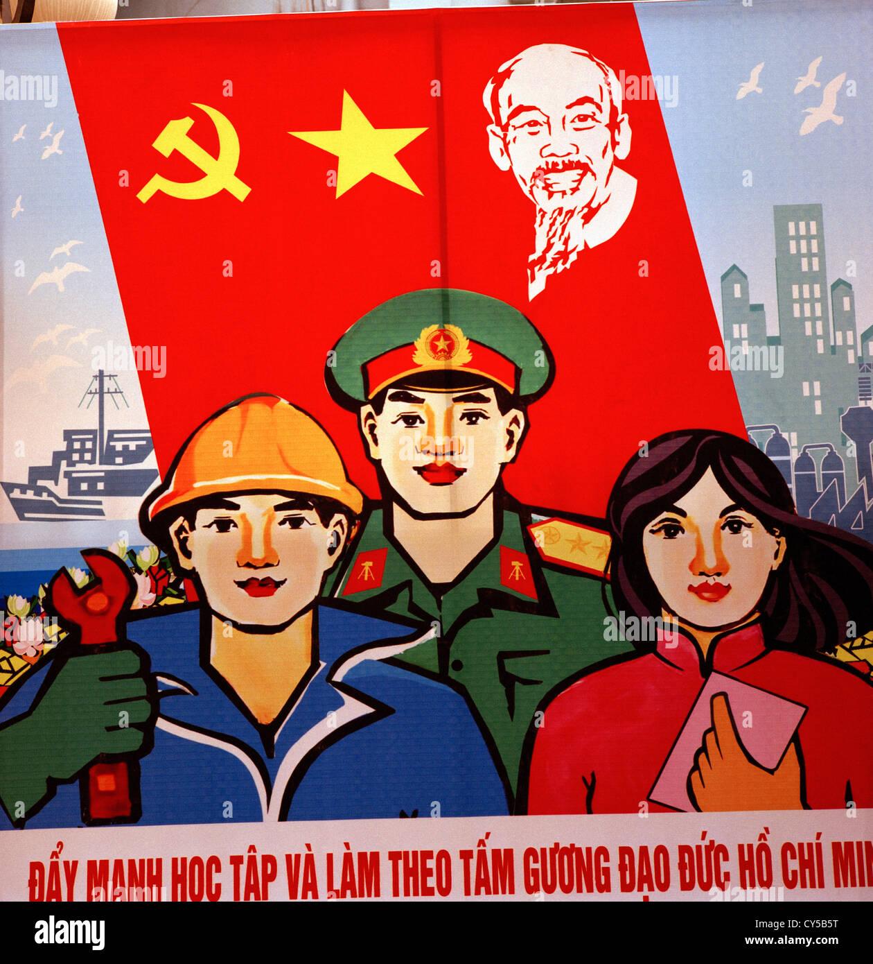 Political propaganda in Hanoi in Vietnam in Far East Southeast Asia. Politics Communism Socialism Communist Socialist - Stock Image