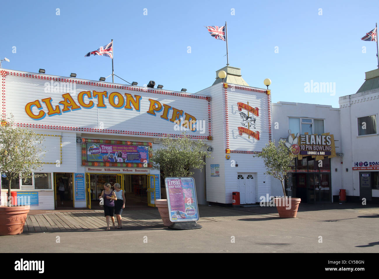 the pier and rides at clacton on sea on the essex coast - Stock Image