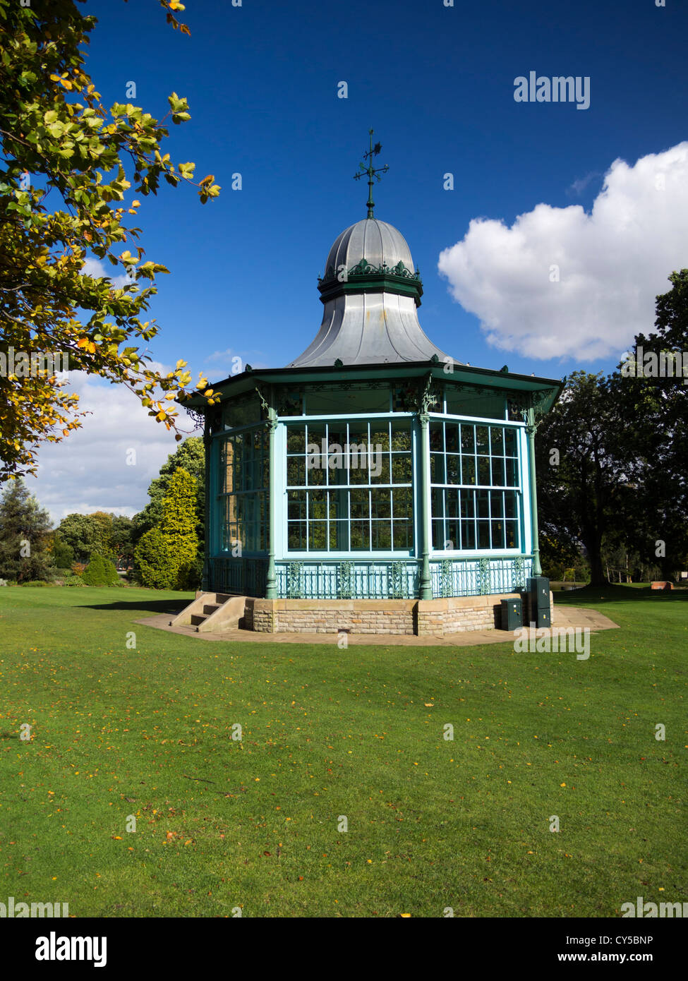 Victorian Bandstand renovated in Weston Park Sheffield South Yorkshire England - Stock Image