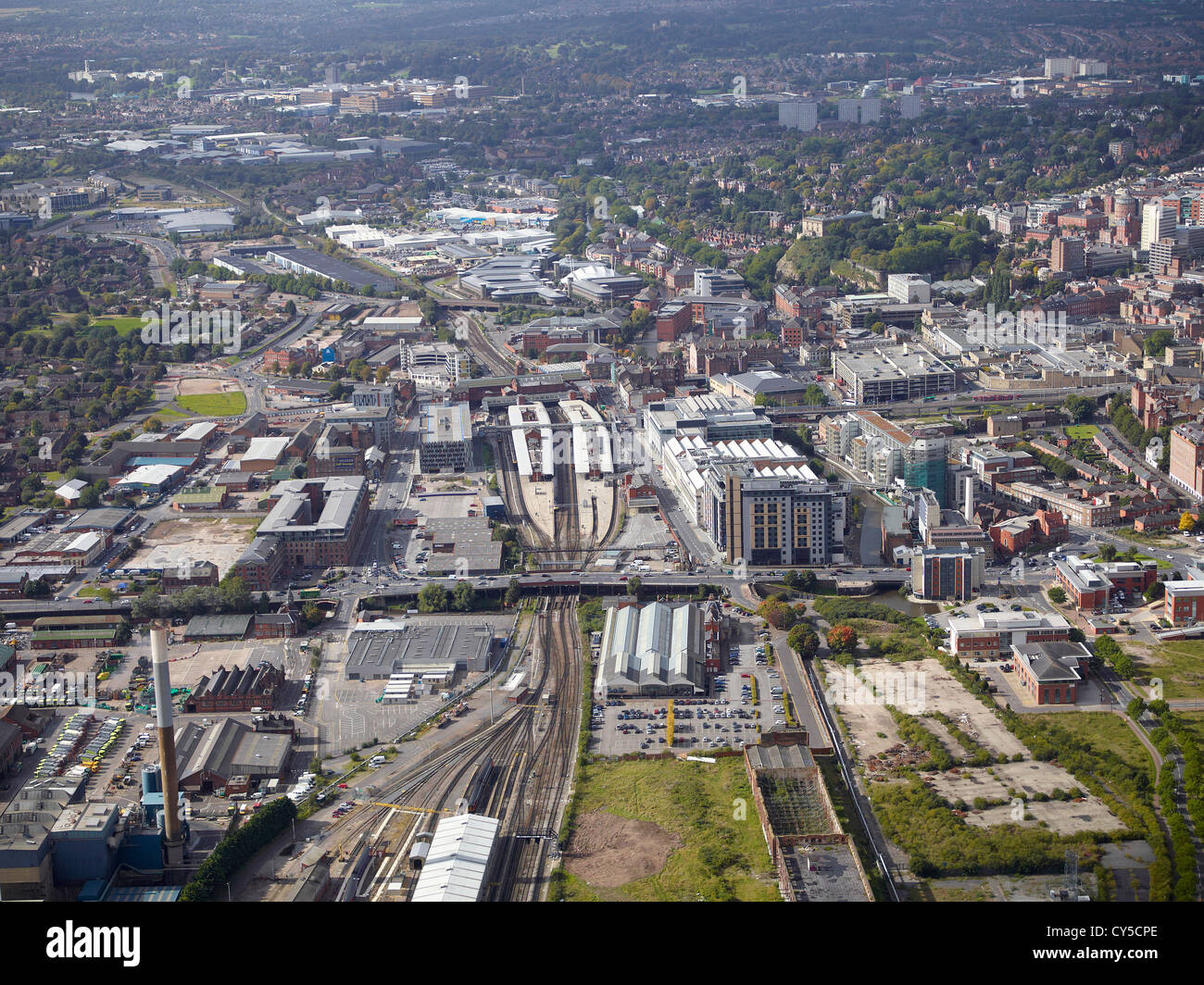 Aerial view of Nottingham City Centre, East Midlands, England, UK, showing the railway station - Stock Image