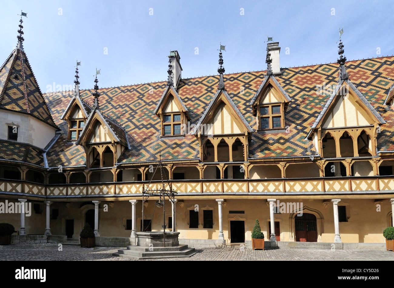 Hospices de Beaune, Hotel Dieu, Beaune, Burgundy, Cote d'Or, France, Europe - Stock Image