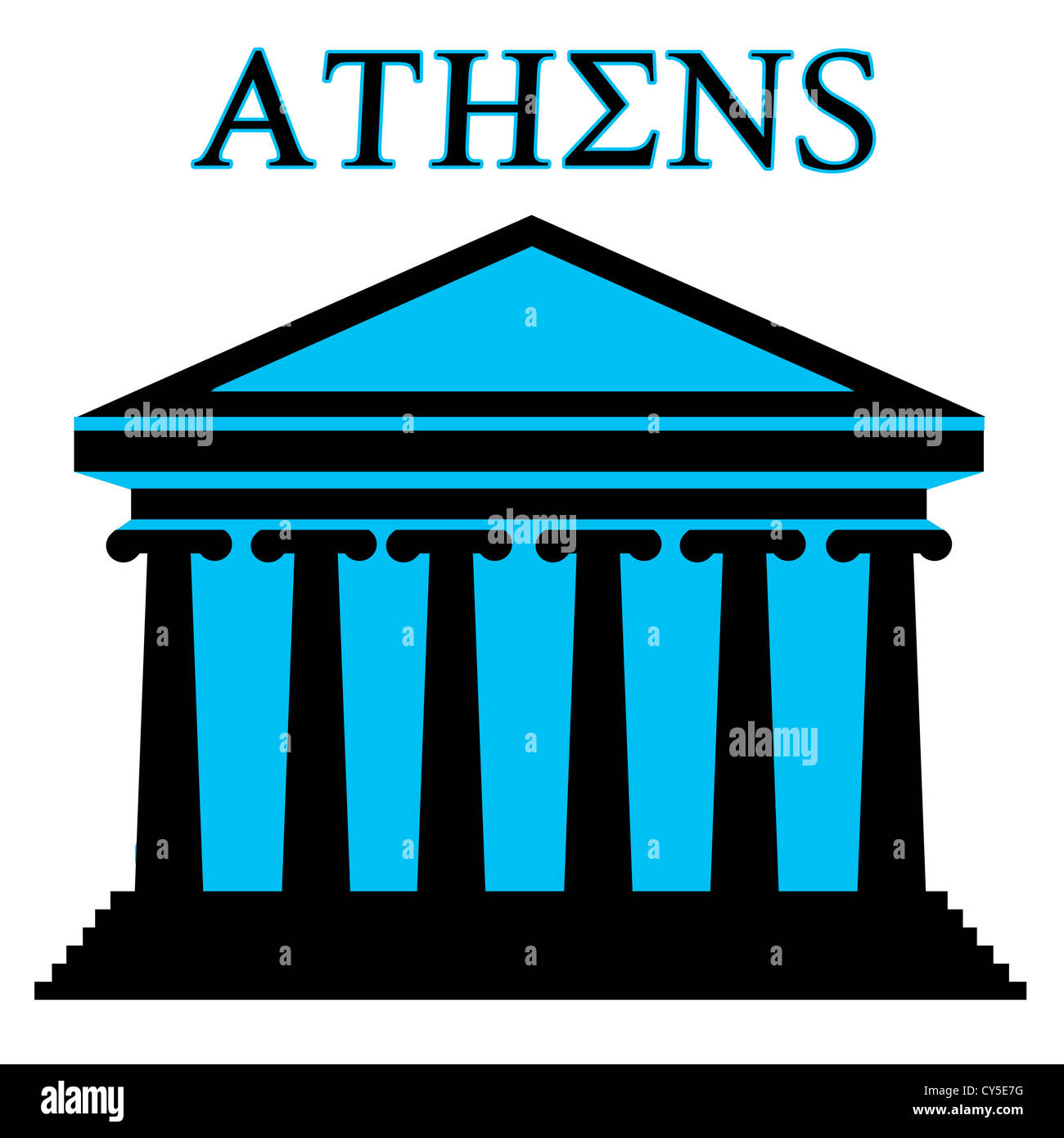 Athens Symbol With Parthenon Icon Building On White Background Stock