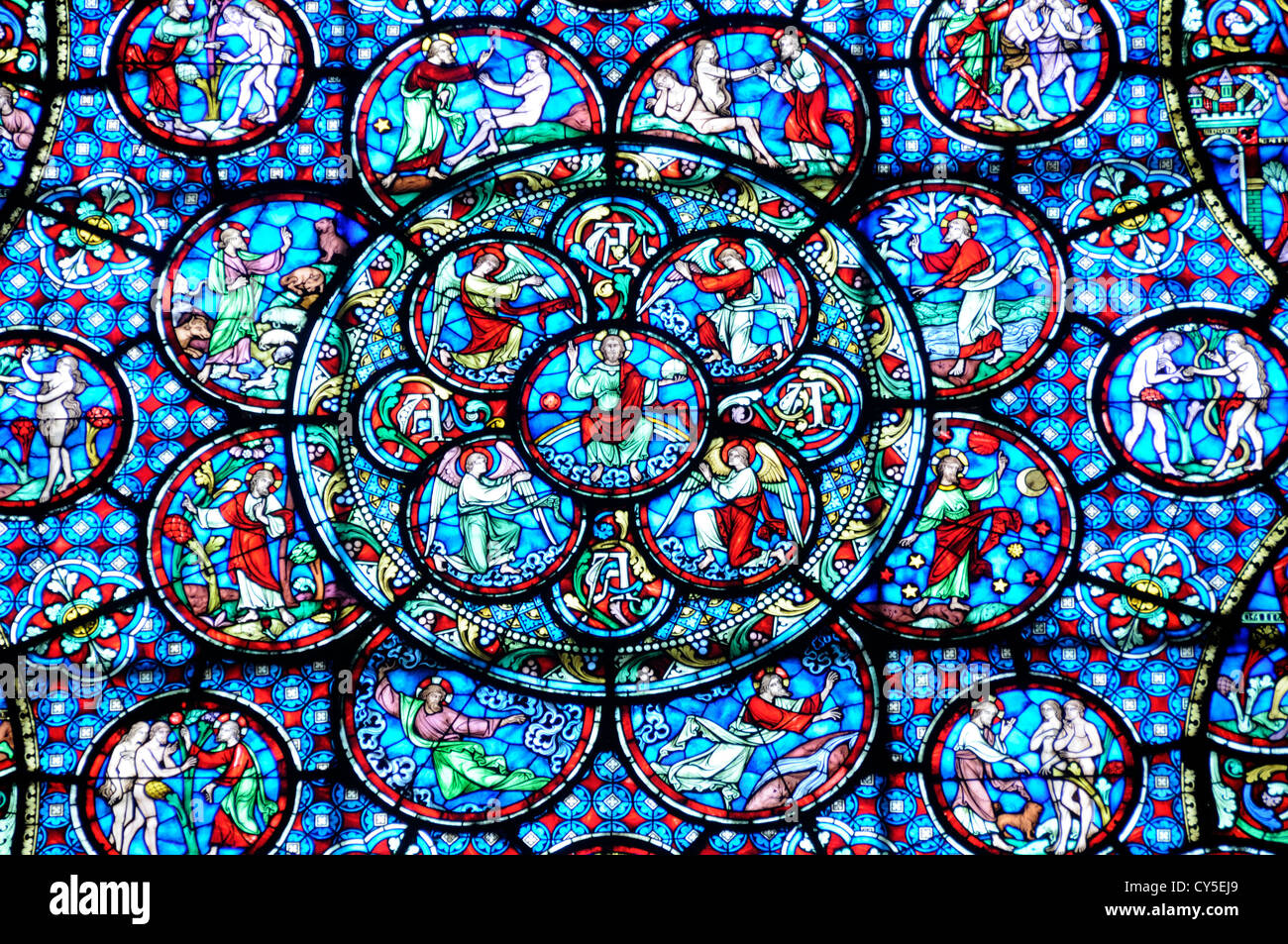 Stained glass window in the Cathedral Notre Dame, Dijon, Côte-d'Or, Burgundy, France Stock Photo