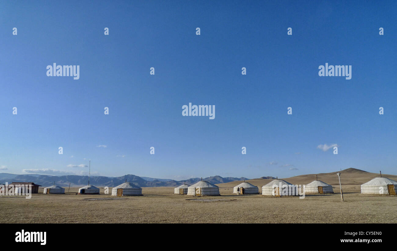 Gers in the Mongolian countryside. - Stock Image