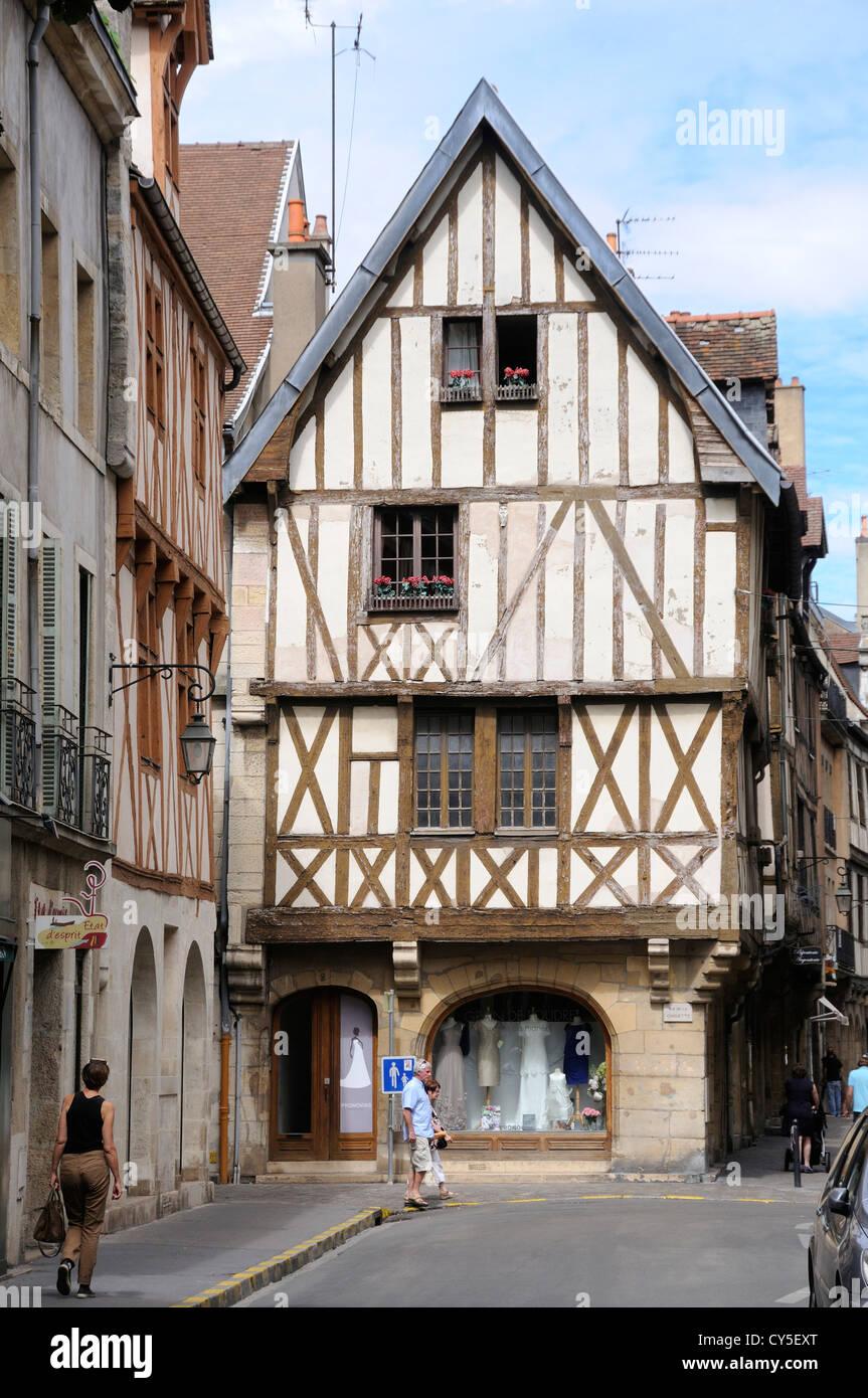 Timber-framed house, Dijon, Cote d'Or, Burgundy, France Stock Photo