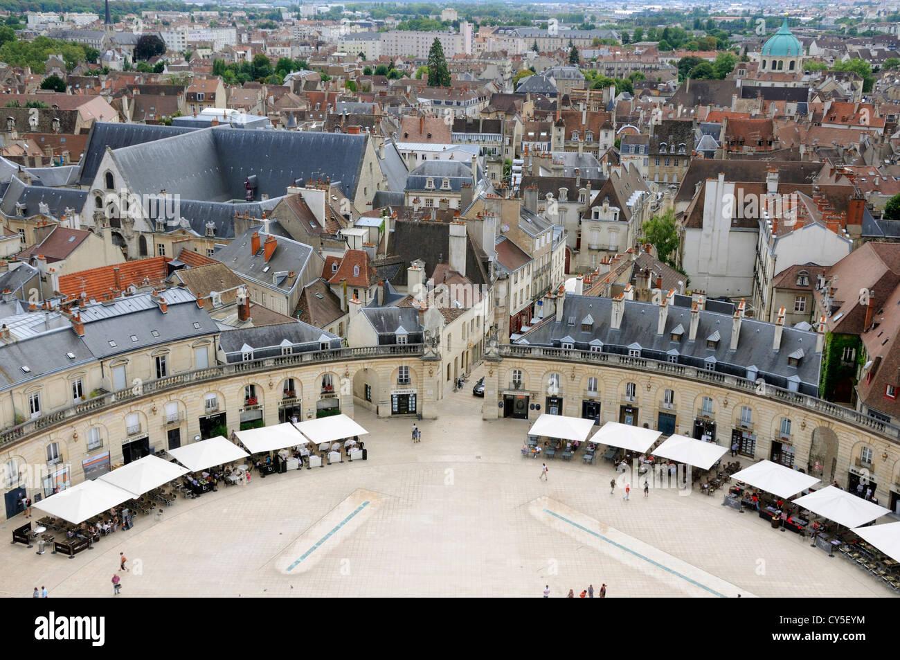 Dijon, France - Place de la Liberation Square with market, from Philippe le Bon Tower Stock Photo