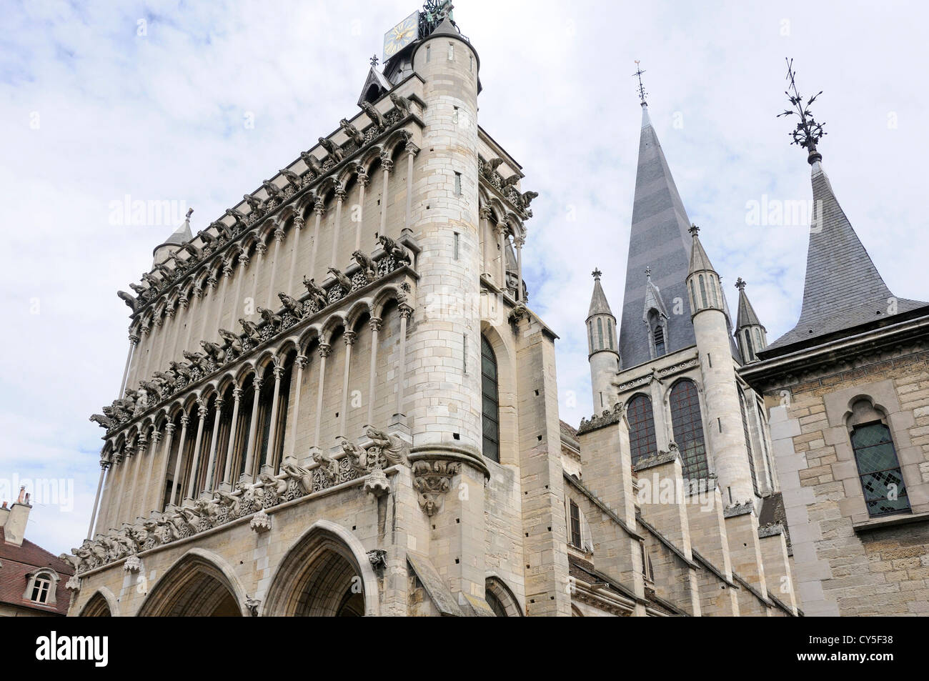 Gargoyles on the facade of the cathedral Notre Dame in Dijon, Côte-d'Or, Burgundy, France Stock Photo