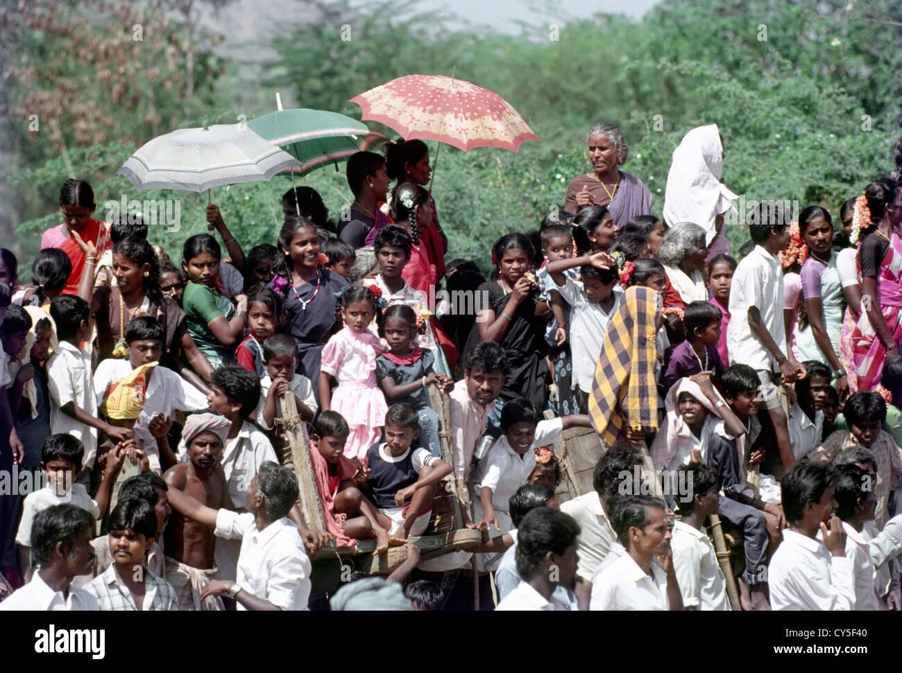 carts serves as a gallery for the keen audience of Jallikattu at urangampatti near madurai,tamilnadu,india - Stock Image