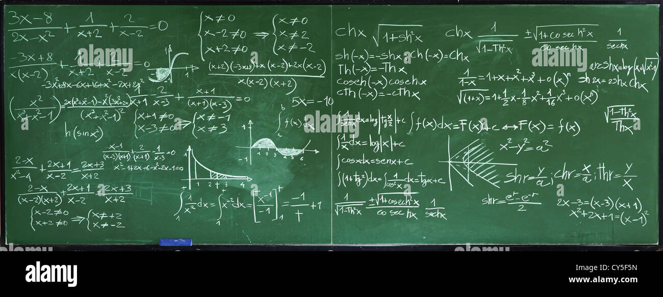 closeup image of classic blackboard with math text - Stock Image