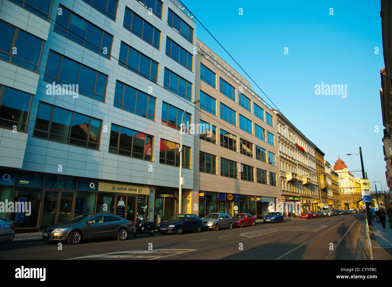 Sokolovska street with commercial office buildings Karlin district Prague Czech Republic Europe - Stock Image