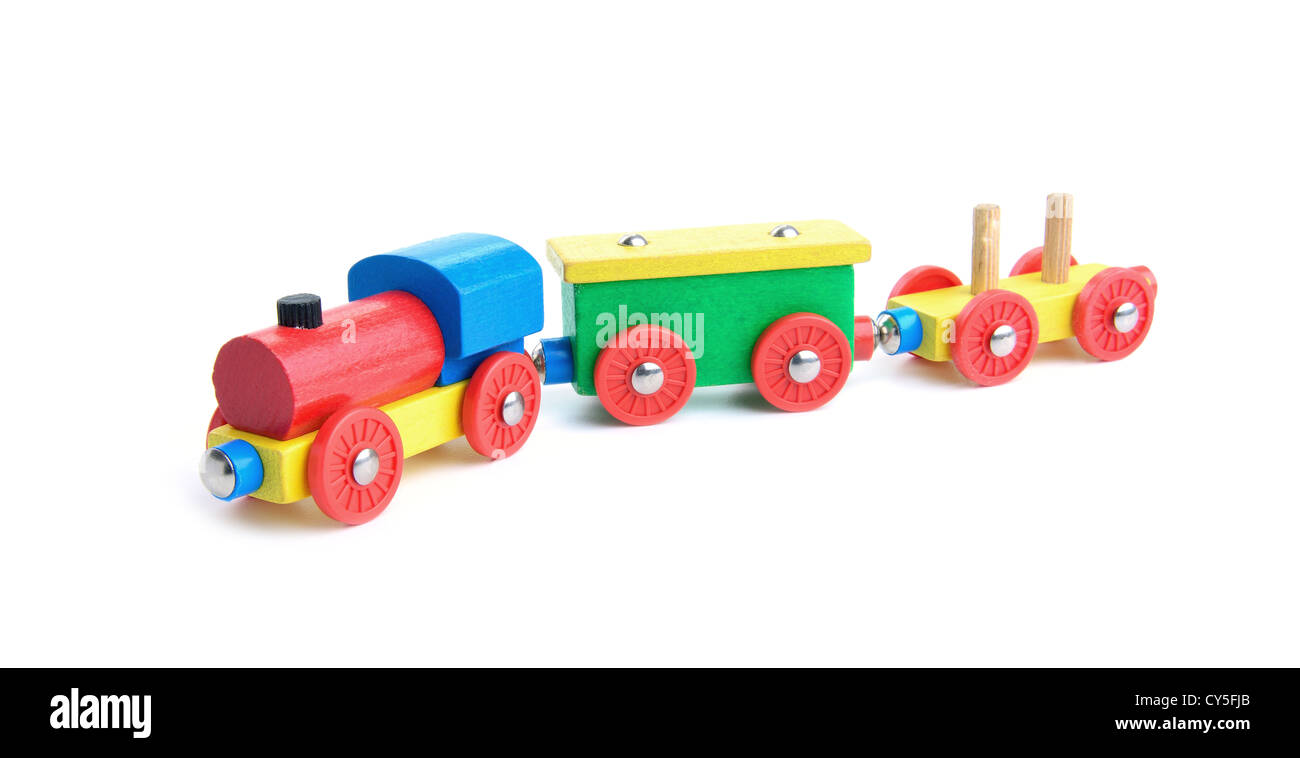 Wooden colorful toy train on white background - Stock Image