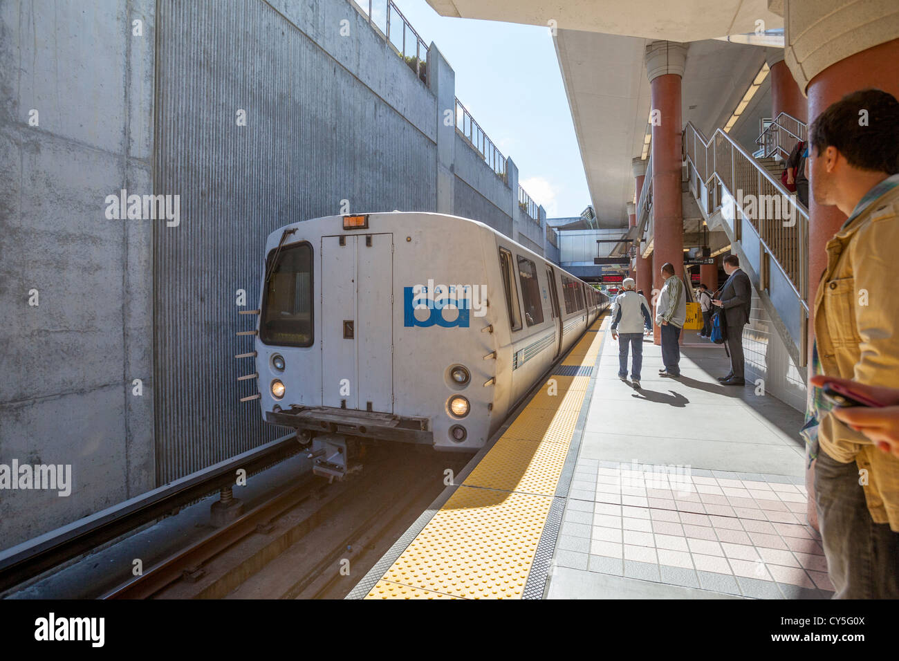 The BART system train in San Francisco, California. - Stock Image