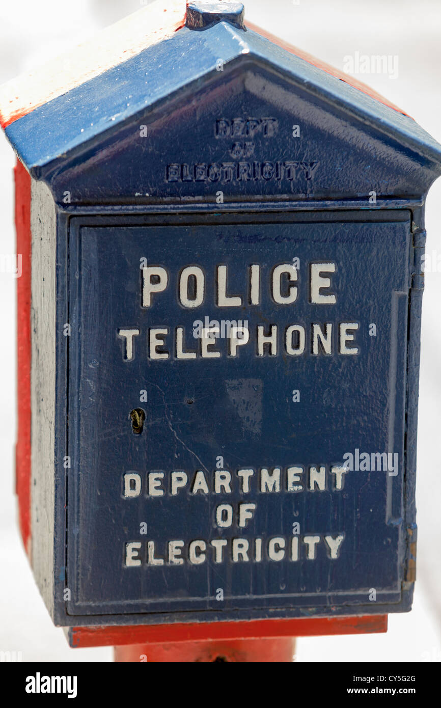 An antique police telephone and emergency call box. - Stock Image