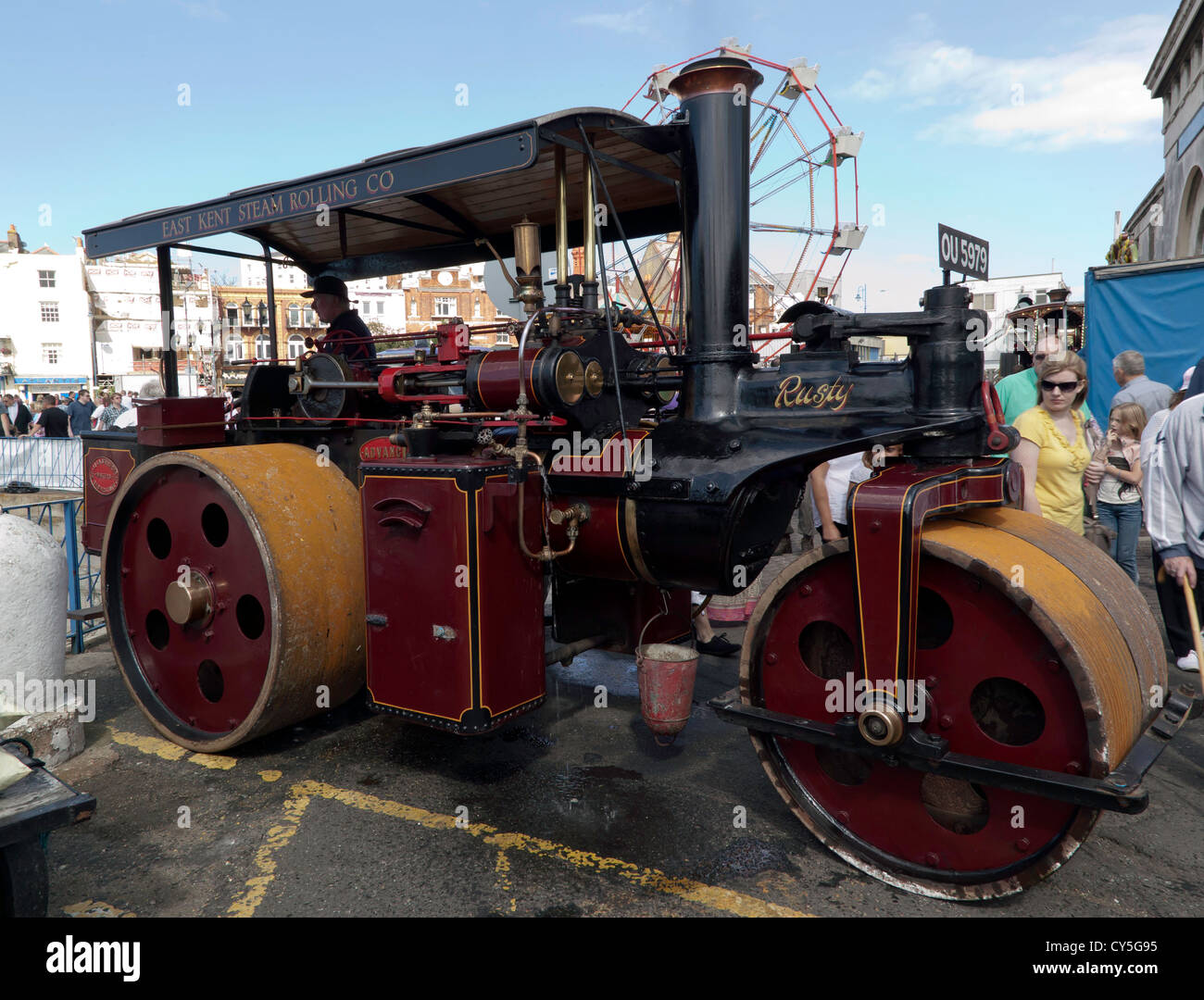 View of a 1930 Wallis & Steevens 'Advance'  Steam Road Roller on display at the Ramsgate Harbour Steam event. - Stock Image
