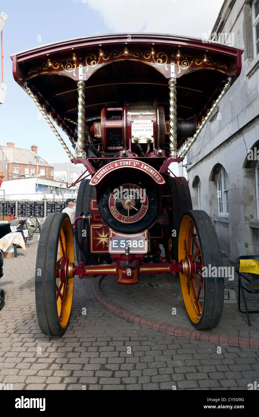 Front view of a Burrell Showmans Road Locomotive, 2342 'The Vanguard' on display at the Ramsgate Harbour - Stock Image