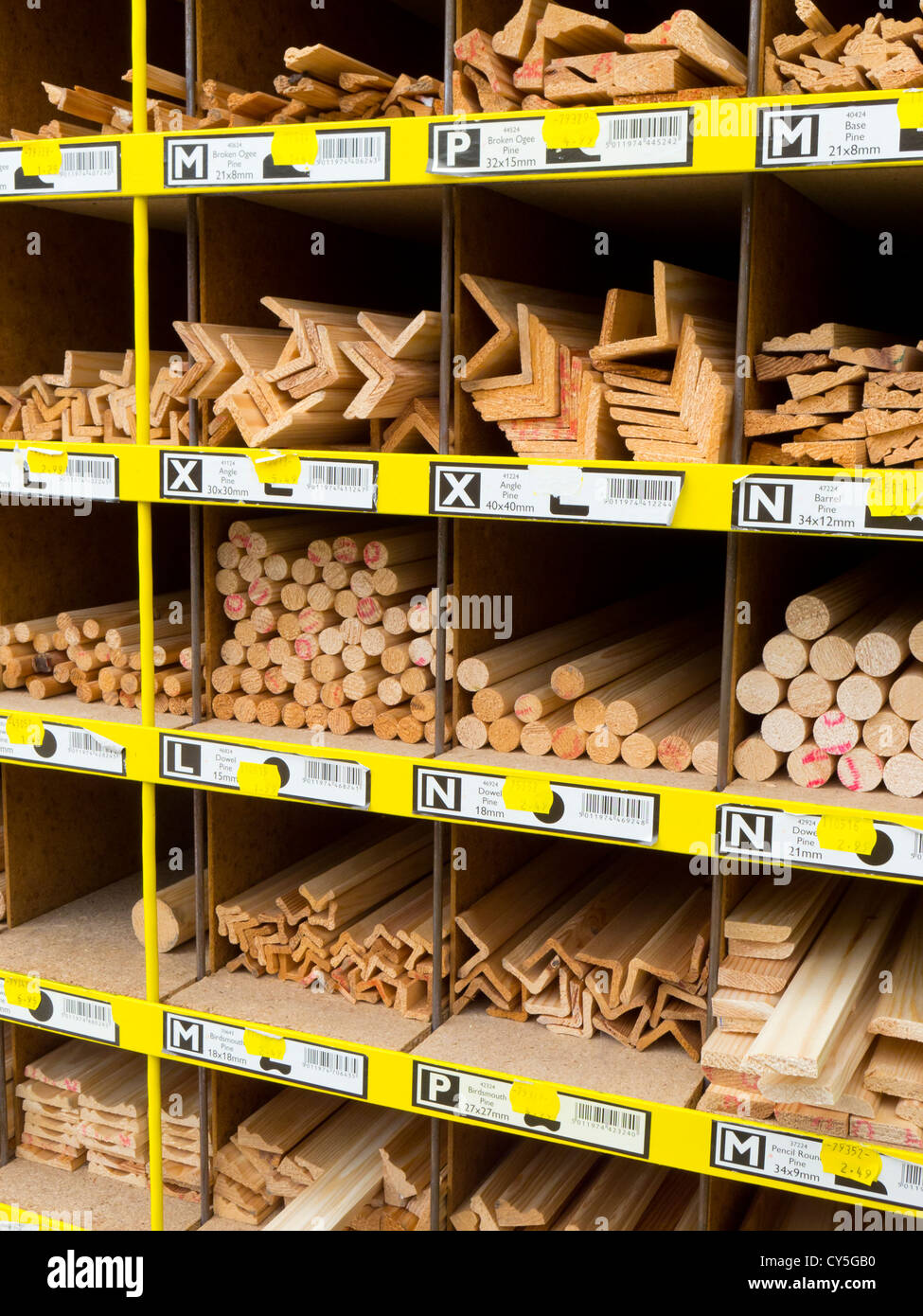 Timber dowel and edging products. - Stock Image