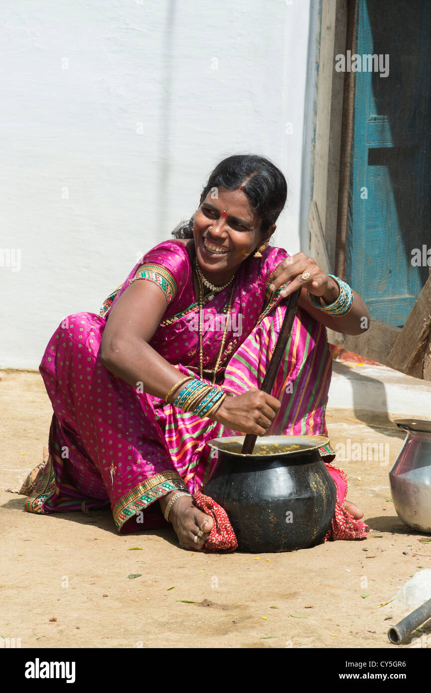 Indian Woman Mixing Dal For Dasara Festival Food In A