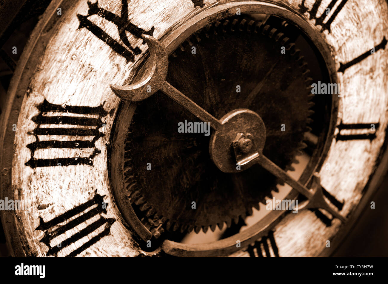 Old Antique Clock With Sepia Tone Stock Photo