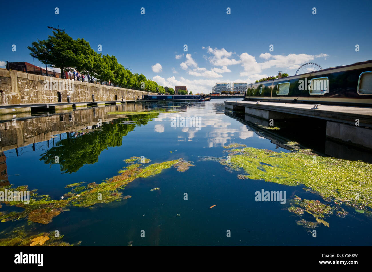albert dock at liverpool city centre, mooring with reflected blue sky in blue water - Stock Image