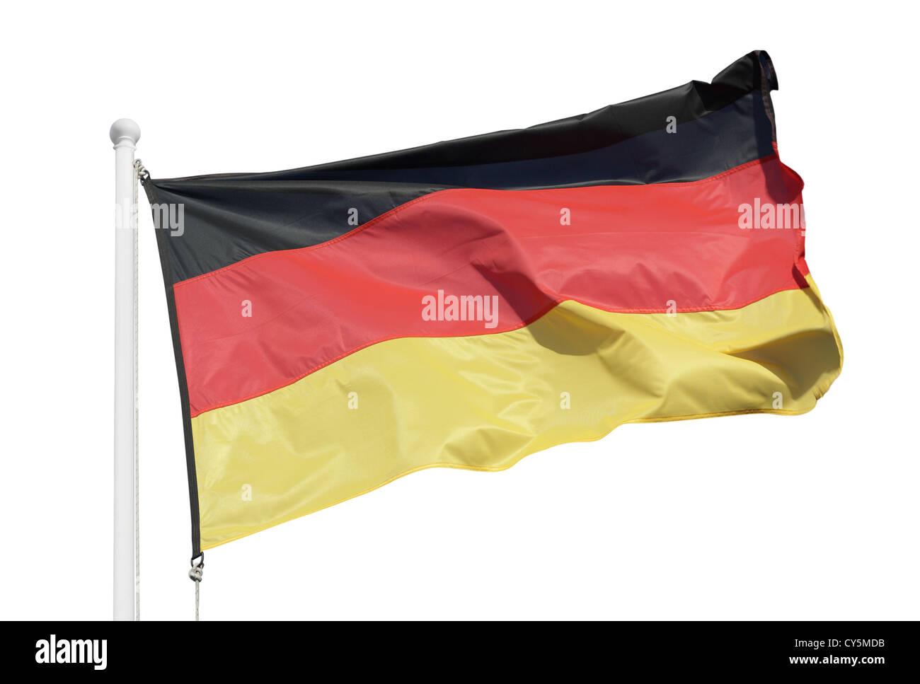 Germany flag blowing in the wind - Stock Image