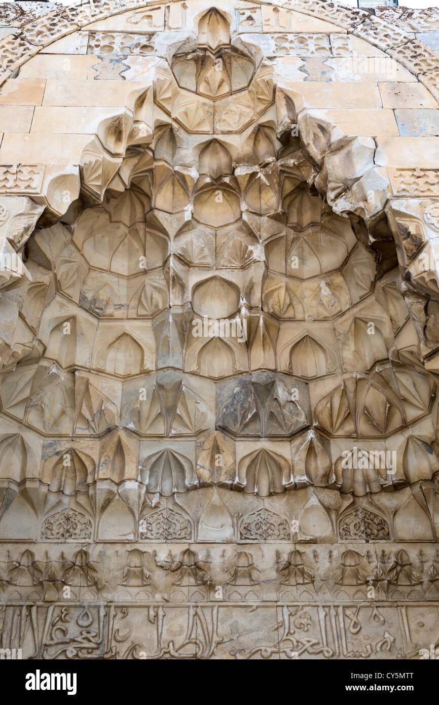 detail of main entrance portal, Sultan Han near Aksaray, Turkey - Stock Image