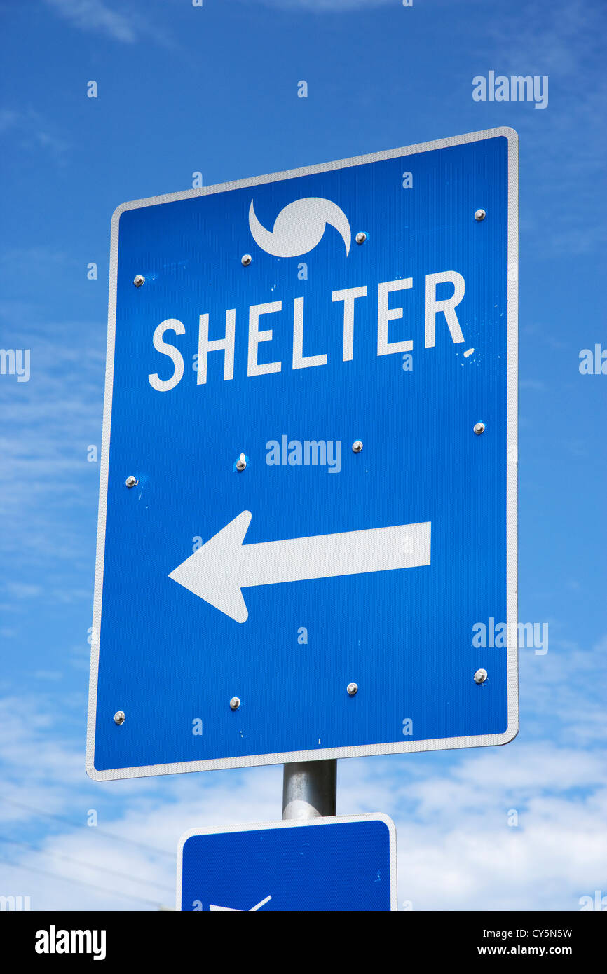 signs and directions for hurricane shelter florida keys usa - Stock Image