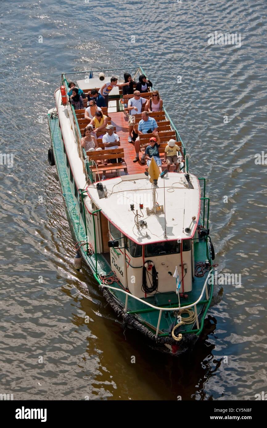 Prague boat tour on Vltava River - Stock Image