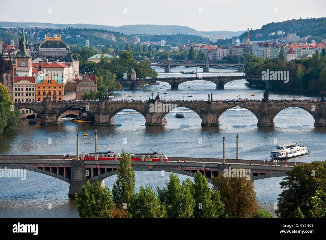 5 of the 18 bridges over the Vltava River in Prague - Stock Image