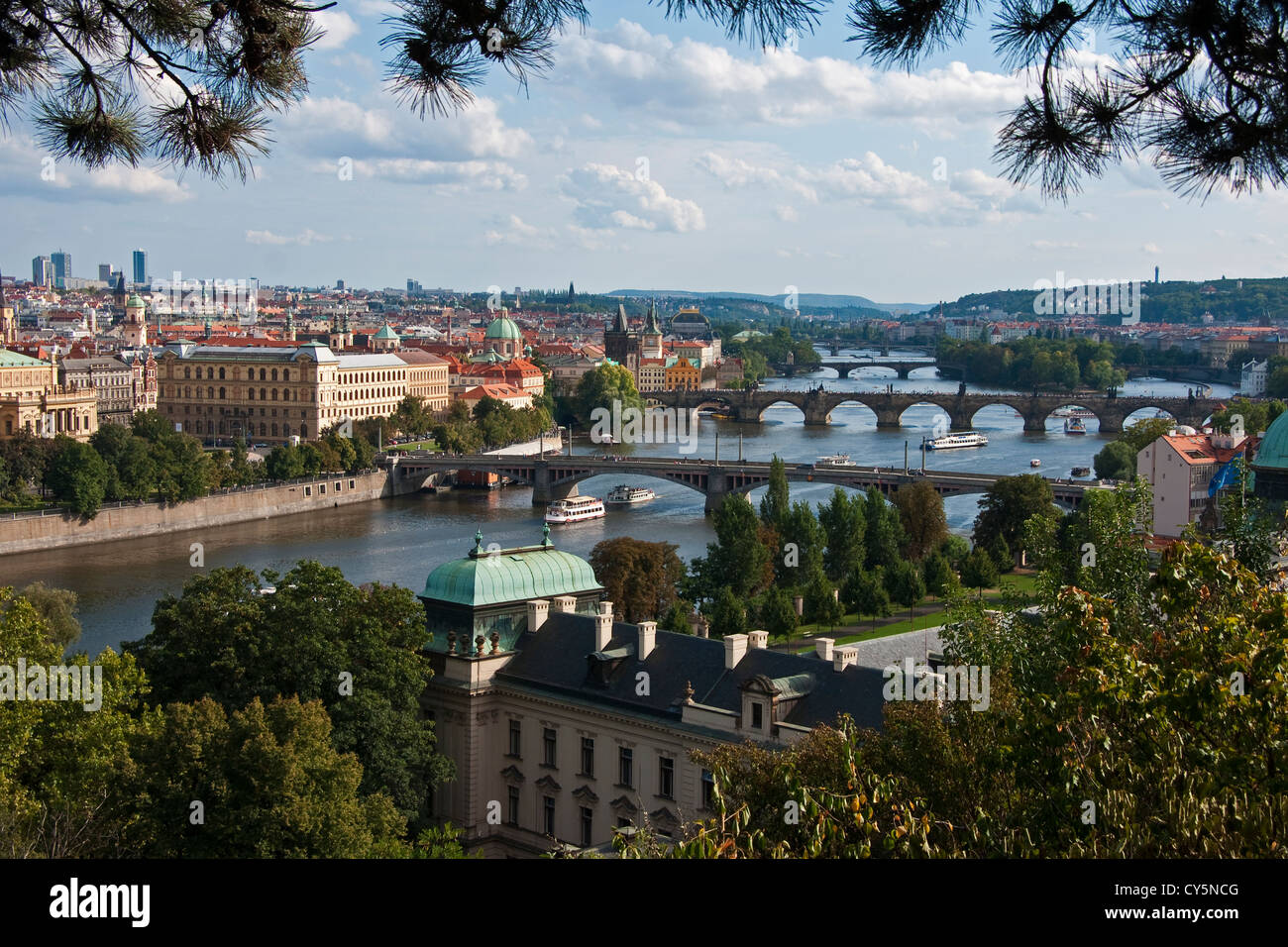 Overview of the Vltava River in Prague - Stock Image