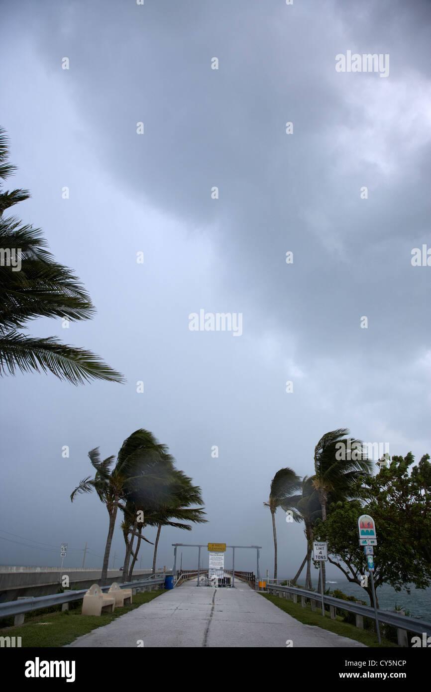 dark rain storm clouds blow over the seven-mile bridge marathon key florida keys usa - Stock Image