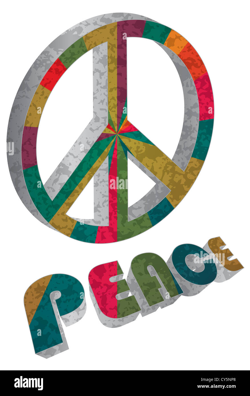 Retro Colorful Peace Symbol Text Stock Photos Retro Colorful Peace
