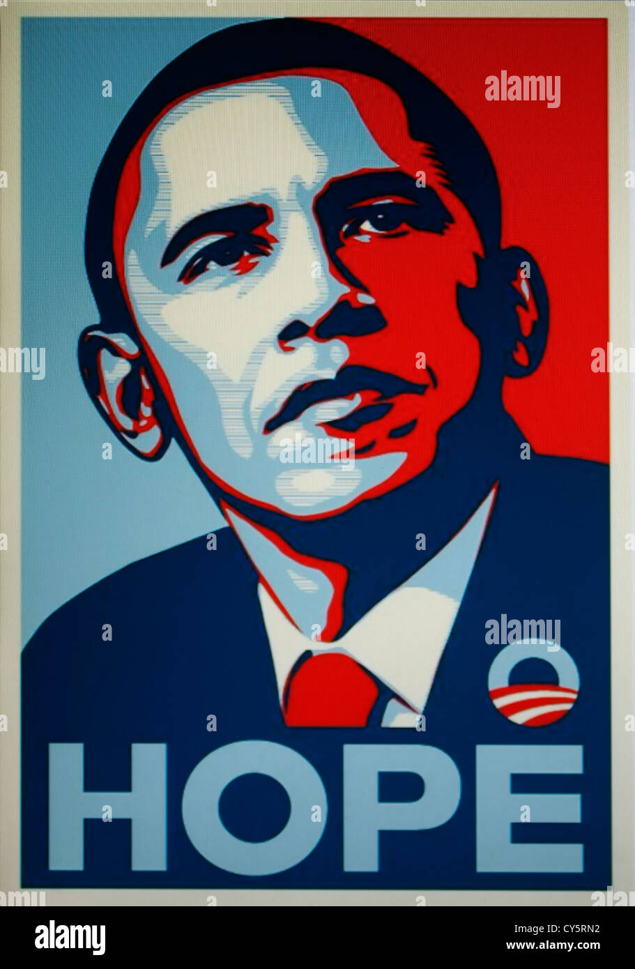 The Barack Obama 'Hope' poster (Shepard Fairey silkscreen print) - Stock Image