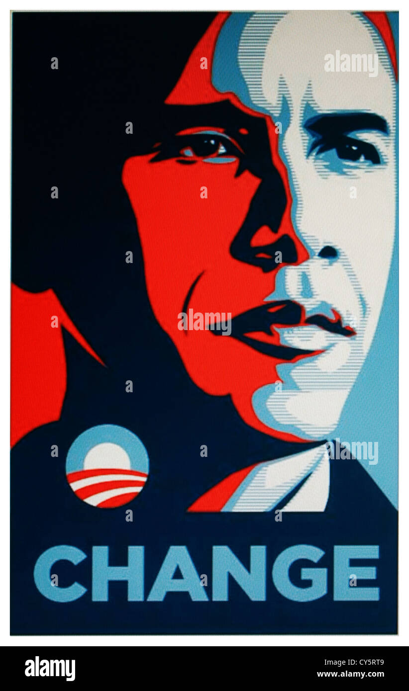 Barack Obama 'Change' poster - related to U.S Elections 2013 - Stock Image