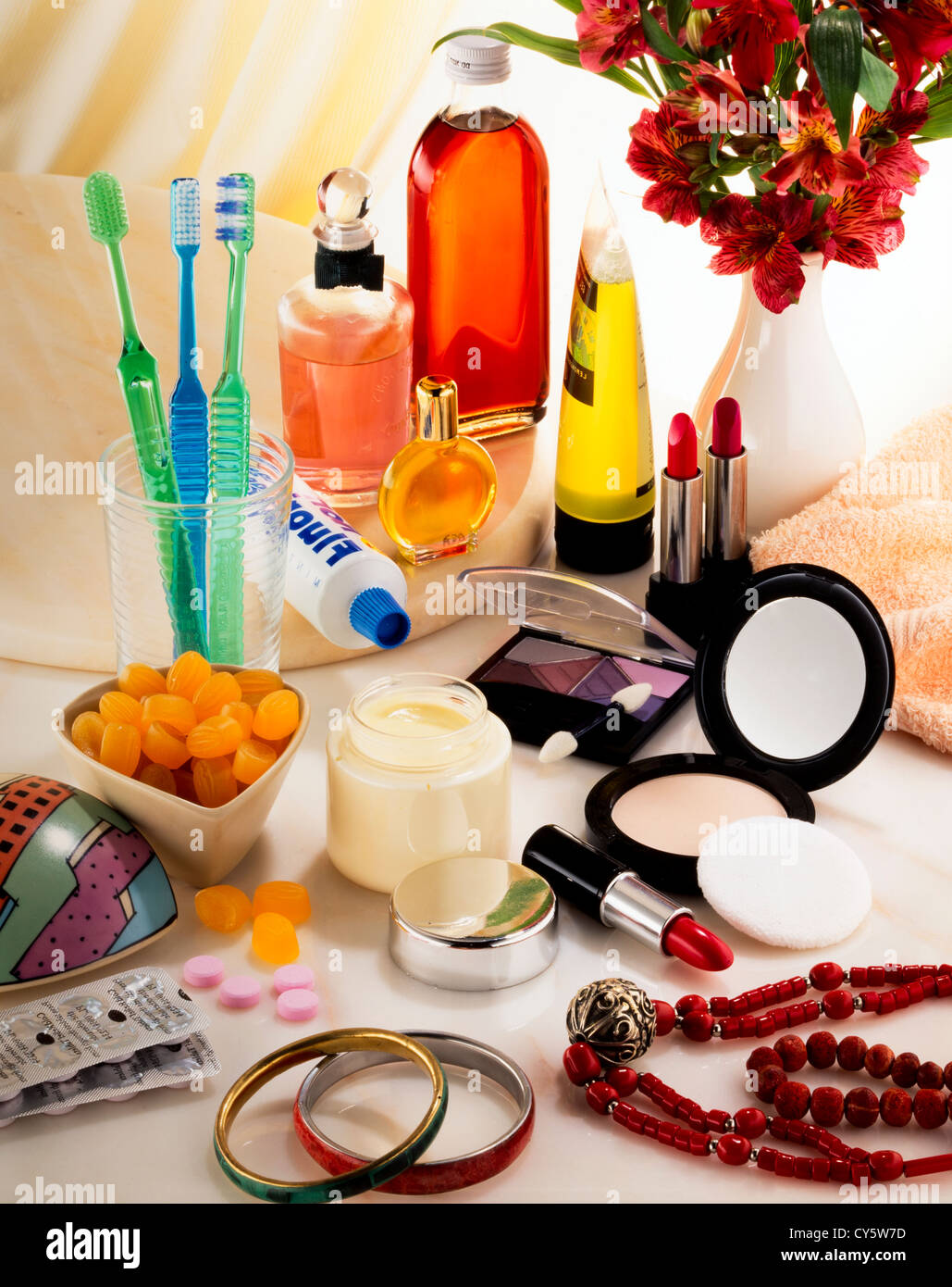 BEAUTY PRODUCTS AND TOILETRIES - Stock Image