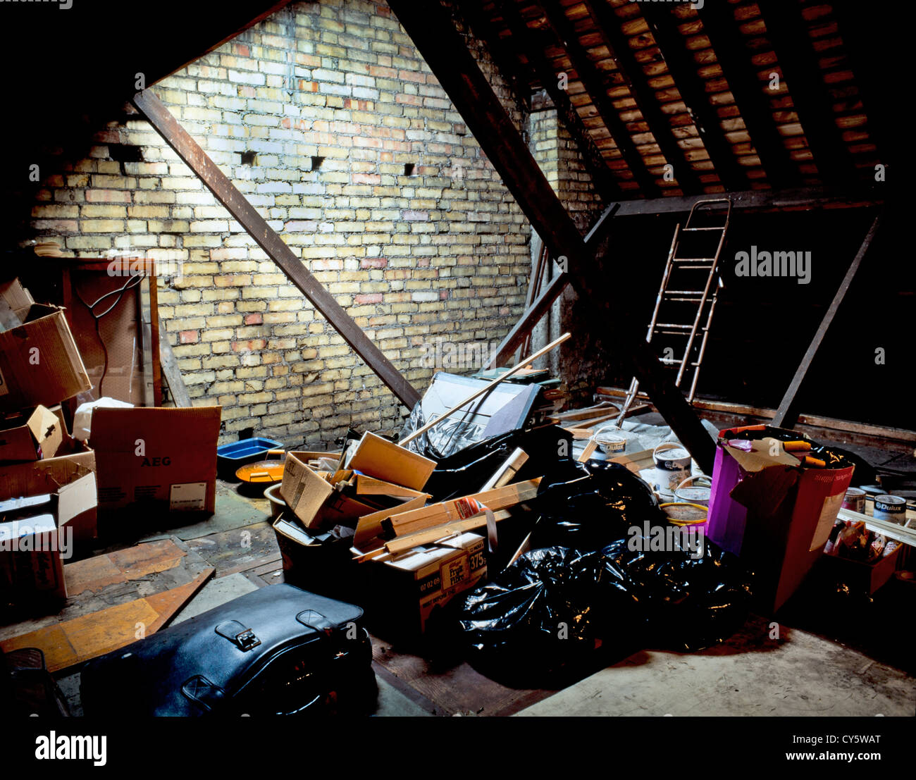 UNCONVERTED LOFT OR ATTIC SPACE - Stock Image