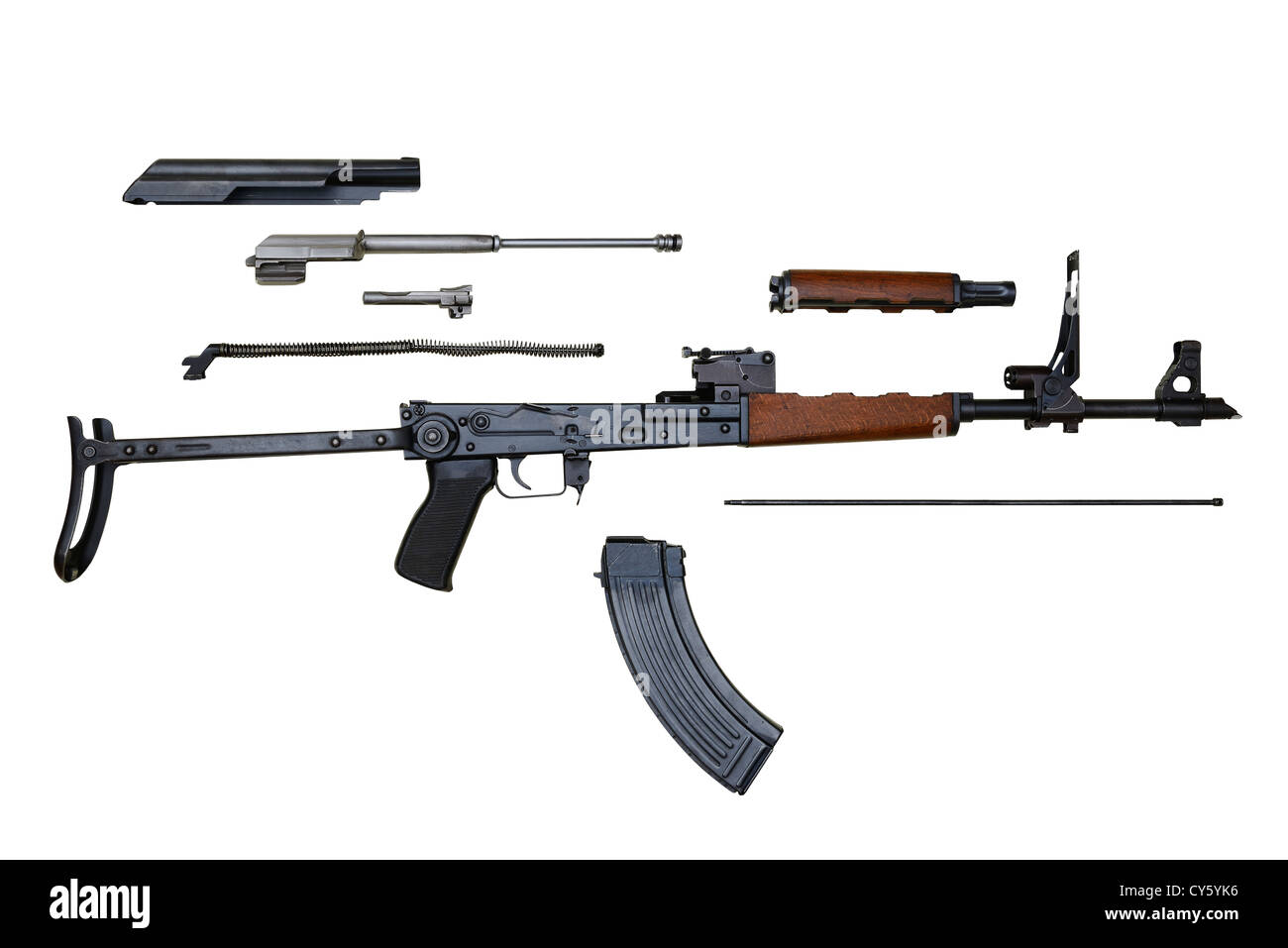 AK47 AKMS Kalashnikov Assault Rifle Stripped For Cleaning. - Stock Image