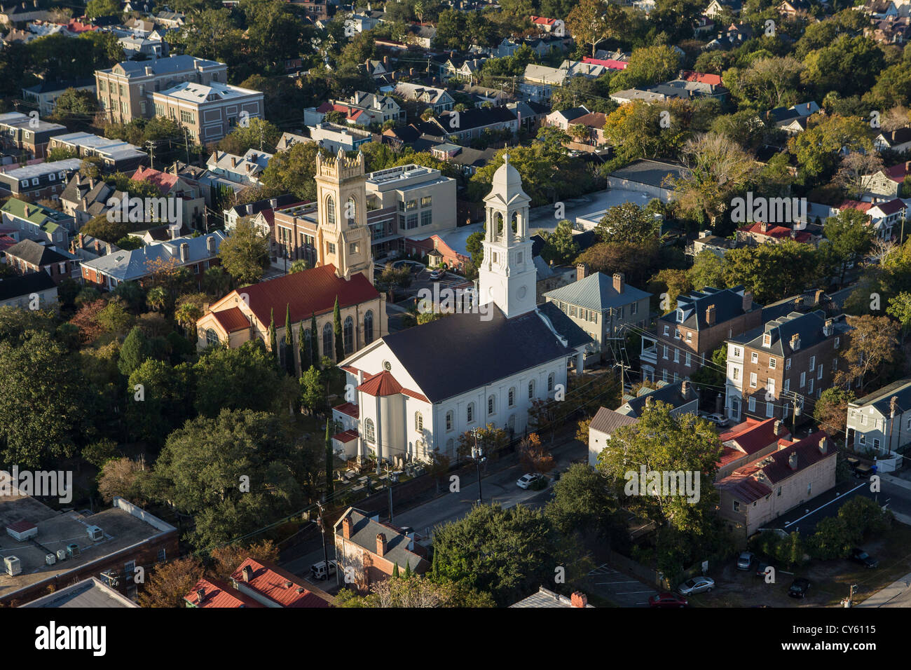 Aerial view of St John's Lutheran Church next to the Unitarian Church Charleston, South Carolina. - Stock Image