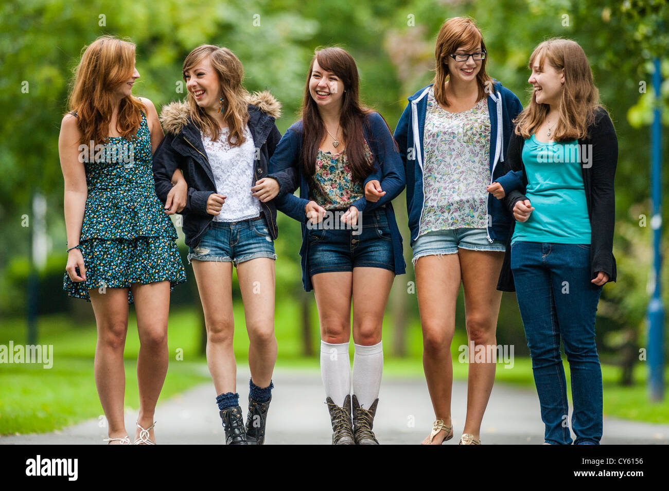 A group of five 5 young adolescent british english welsh Tiny girl teen