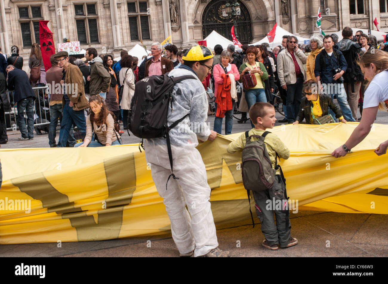 French Demonstration Against Nuclear Power. - Stock Image