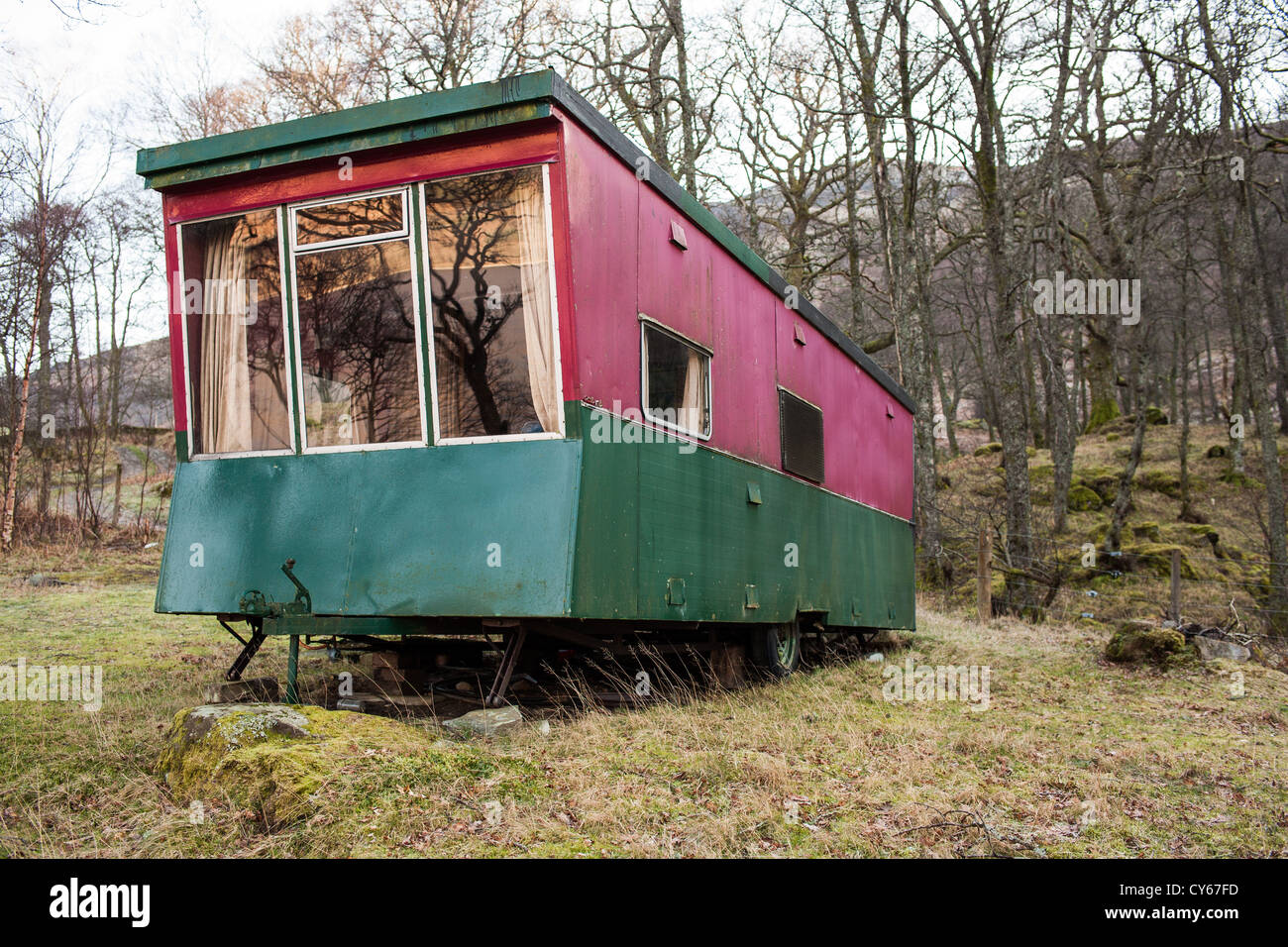 Static Caravan by Loch Earn on the south shore. - Stock Image