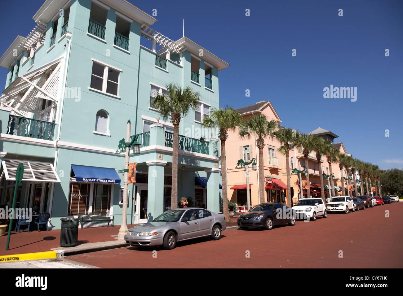 market street shops cafes and restaurants downtown celebration florida usa - Stock Image