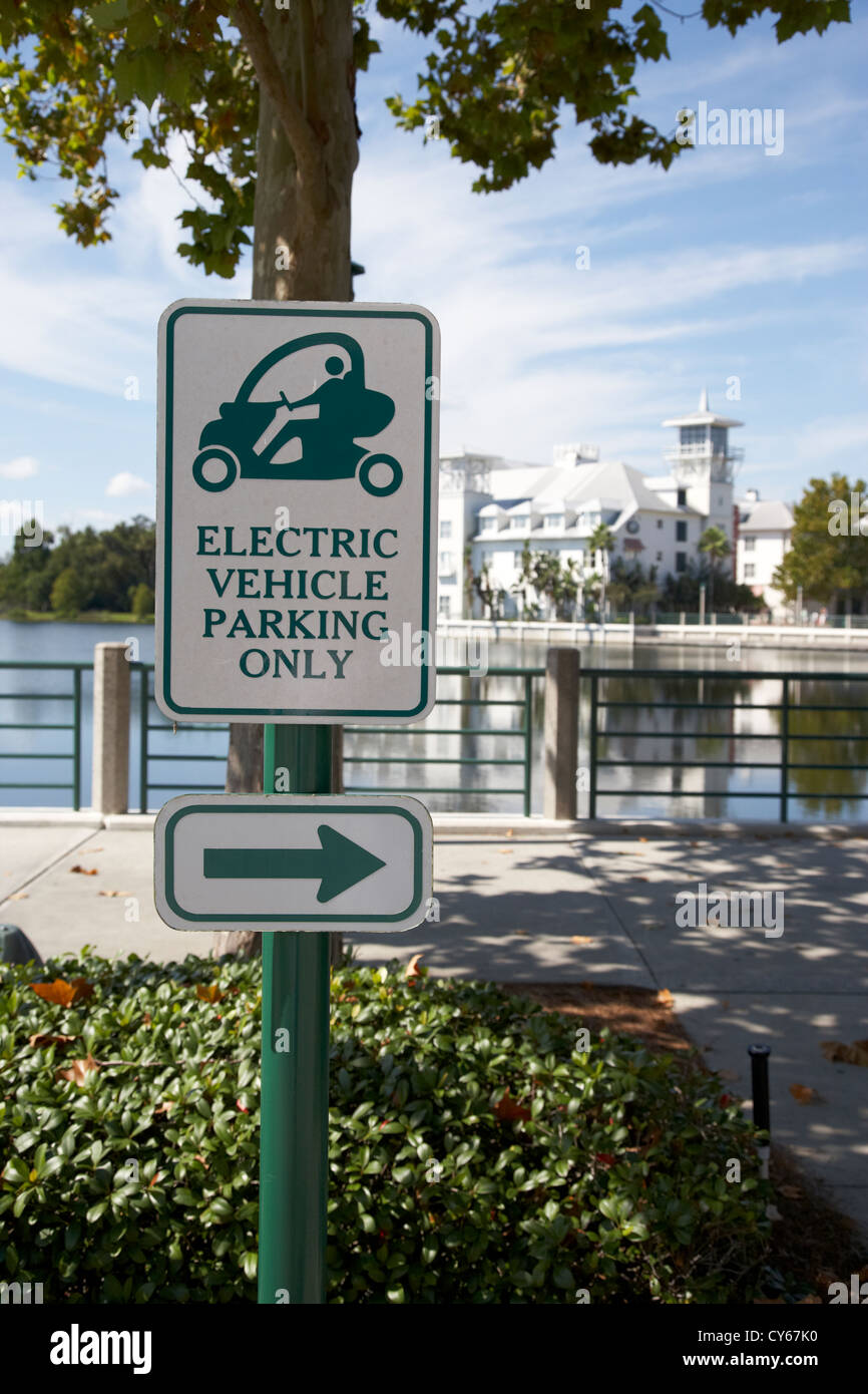 electric vehicle parking only spaces bays in downtown celebration florida usa - Stock Image