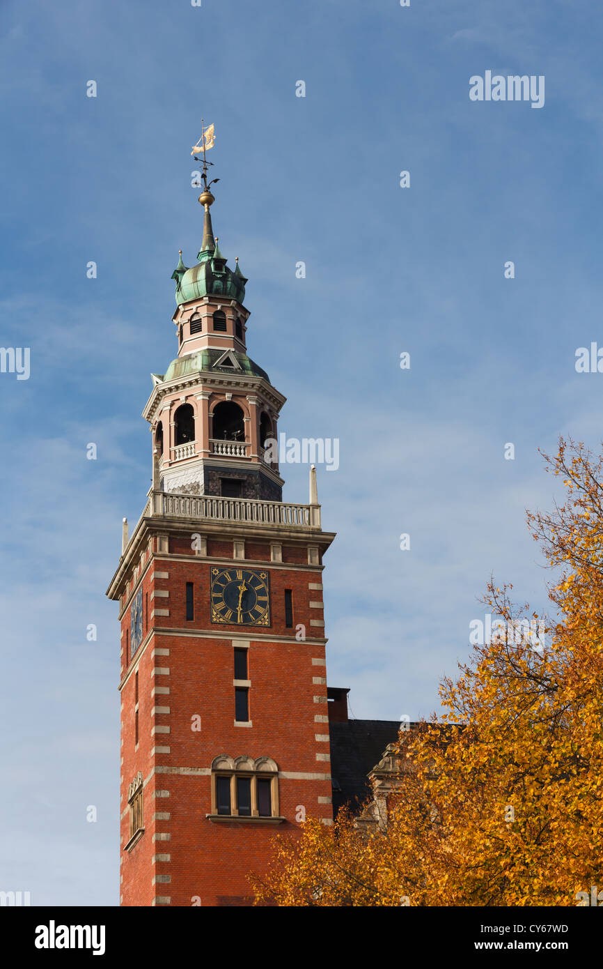 Steeple of City Hall inspired on Dutch Renaissance style, Leer, Germany - Stock Image