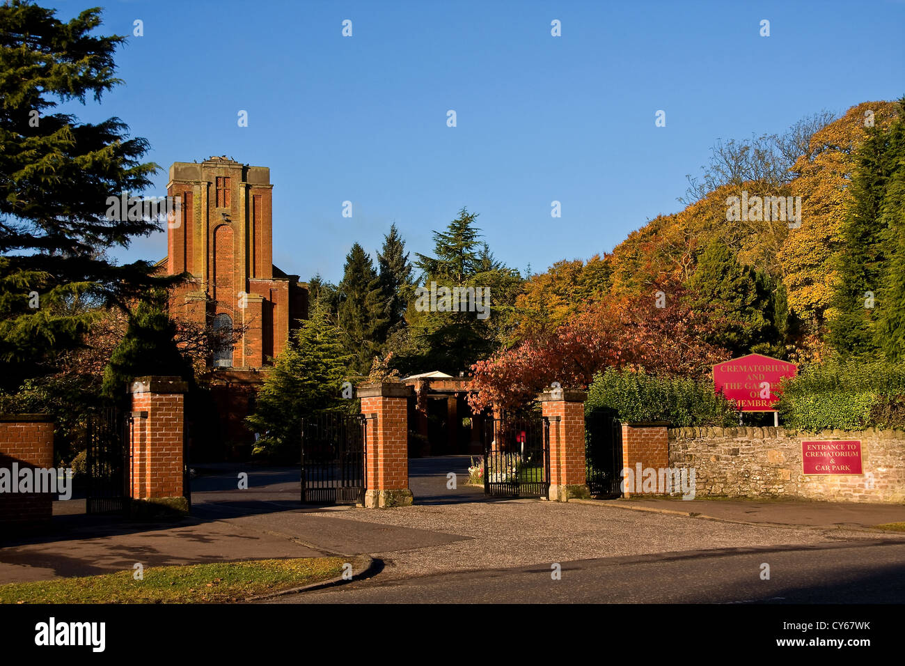 Crematorium building and Gardens of Remembrance basked in Autumn ...