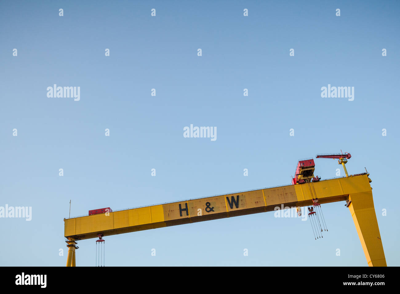Harland and Wolff Cranes at Belfast Docks. - Stock Image