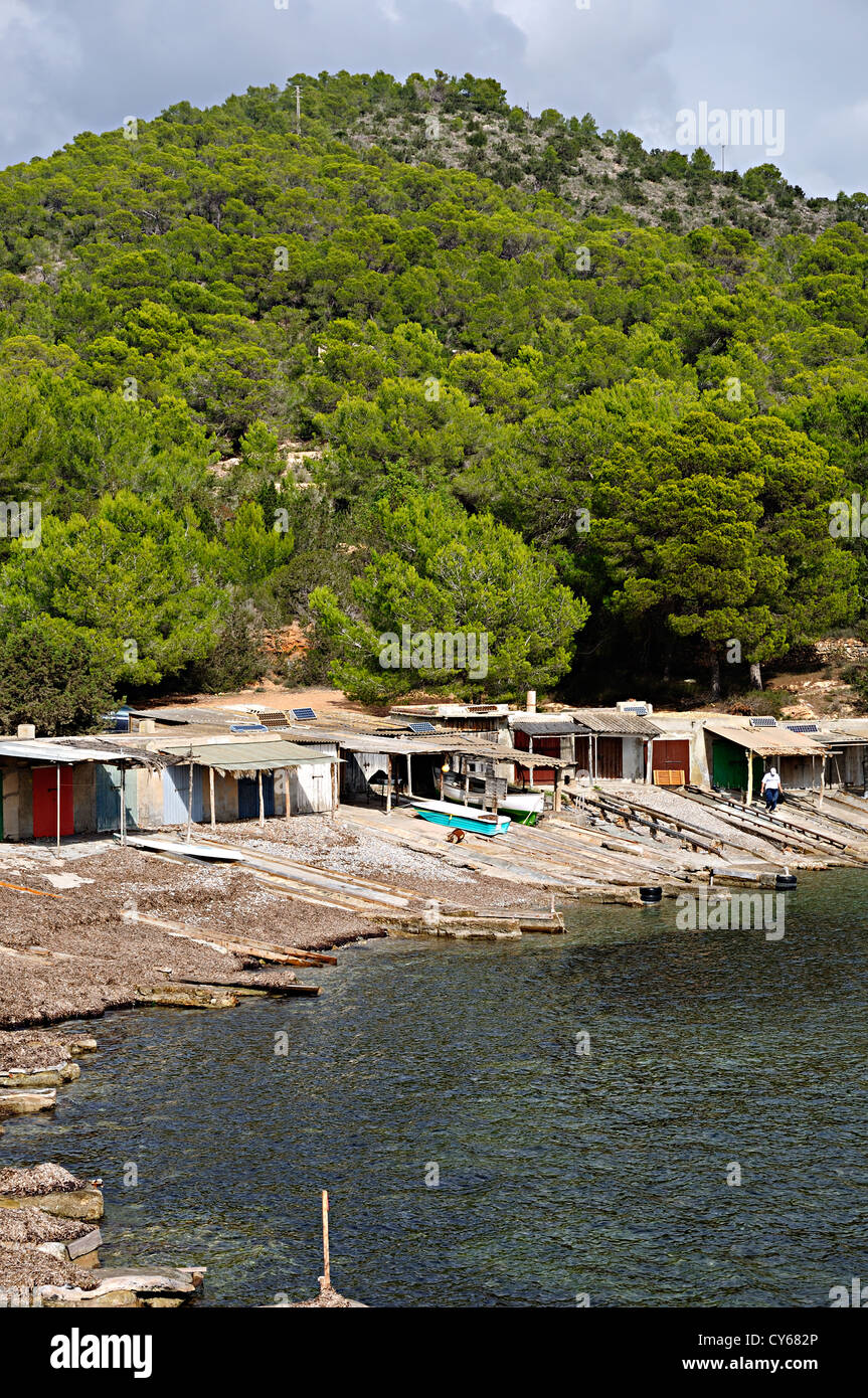 Fisherman hut in Sa Caleta. Ibiza, Balearic Islands, Spain - Stock Image