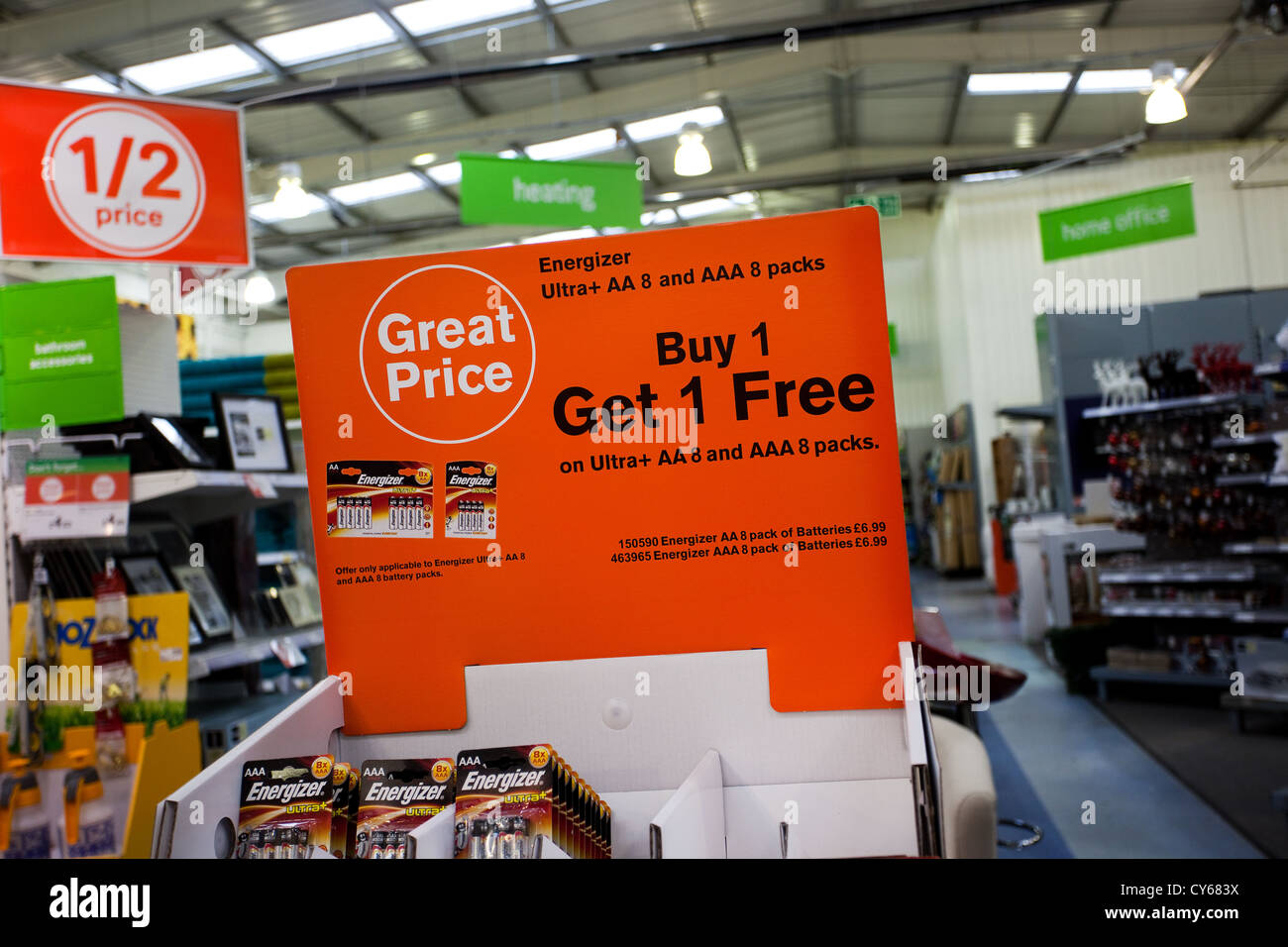 Great price _ Buy 1 Get 1 free_ Bogof offers in Homebase British home improvement store, Formby, Merseyside, UK - Stock Image